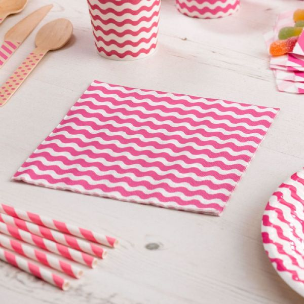 Carnival Pink Napkins - Waves (20)